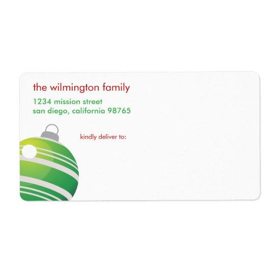 Green ball ornament contemporary Christmas mailing