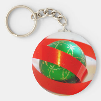 Green Ball, Red Ribbon Gift Items Basic Round Button Key Ring