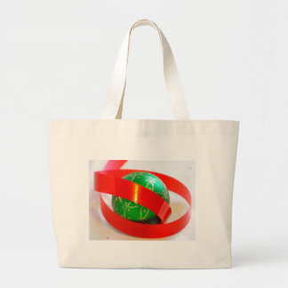 Green Ball, Red Ribbon Gift Items Jumbo Tote Bag