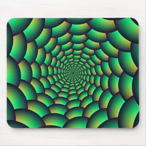 Green Ball Spiral Tunnel Mouse Pads