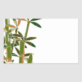Green bamboo  isolated on white background rectangular sticker