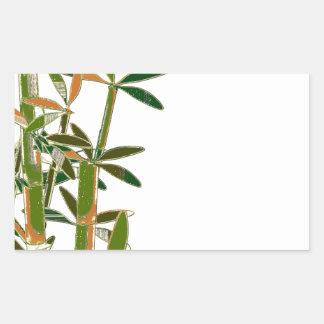 Green bamboo  isolated on white background rectangular sticker