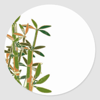 Green bamboo  isolated on white background round sticker