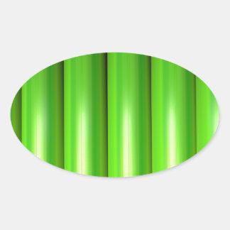 Green bamboo set oval sticker