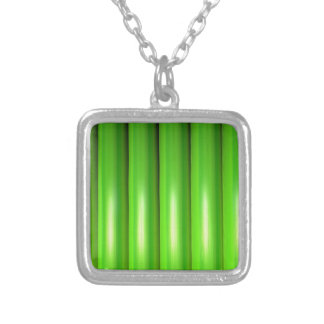 Green bamboo set square pendant necklace
