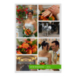 Green band 6 multi photo collage memories keepsake poster