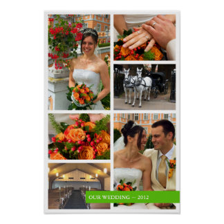 Green band 6 multi photo collage memories keepsake poster