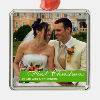 Green band couple first Christmas square photo Christmas Ornament