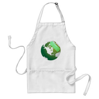 Green Bandaided Earth Standard Apron