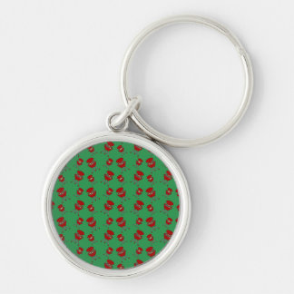 green barbeque pattern keychain