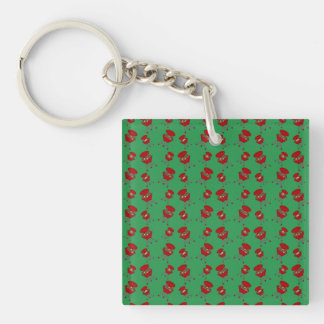 green barbeque pattern acrylic keychains
