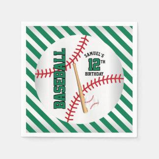 Green Baseball Birthday Design | Personalize Disposable Serviettes