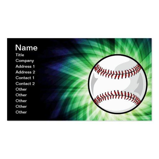 Green Baseball Business Card Templates