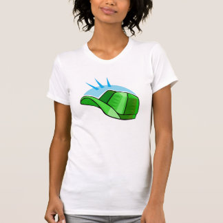 green baseball cap shirt