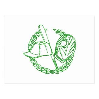 Green Baseball Emblem Postcard