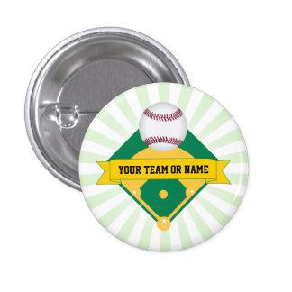 Green Baseball Field with Custom Team Name 3 Cm Round Badge