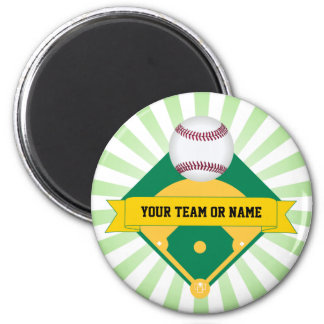 Green Baseball Field with Custom Team Name 6 Cm Round Magnet