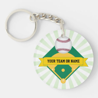 Green Baseball Field with Custom Team Name Double-Sided Round Acrylic Key Ring