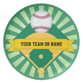 Green Baseball Field with Custom Team Name Plates