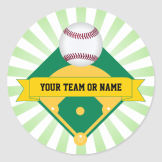 Green Baseball Field with Custom Team Name Round Sticker