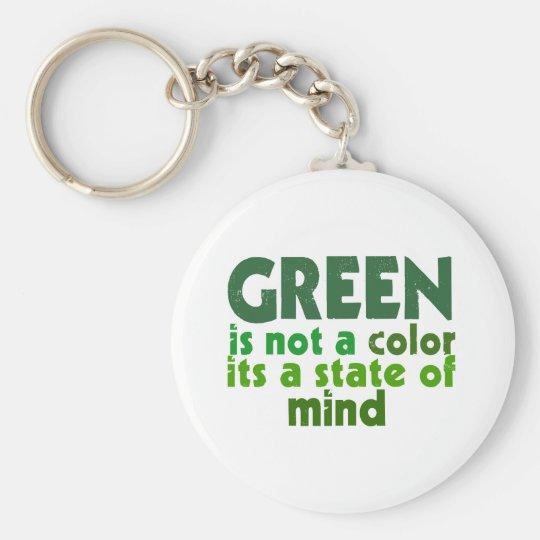 Green Basic Round Button Key Ring
