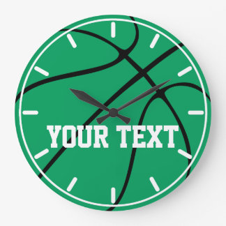 Green Basketball Custom Round Wall Clock