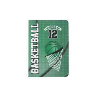 Green Basketball Design   Personalize Passport Holder