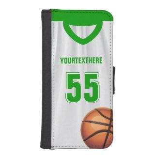 Green BasketBall Dress Name Number Phone Wallet Case
