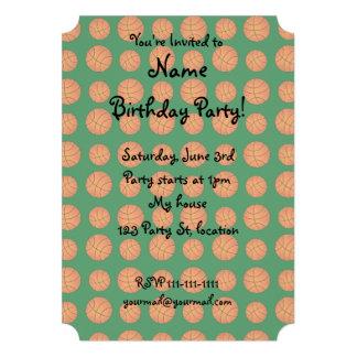 Green basketball pattern custom invite