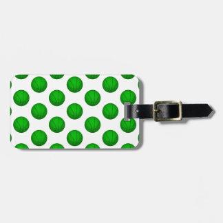 Green Basketball Pattern Luggage Tag