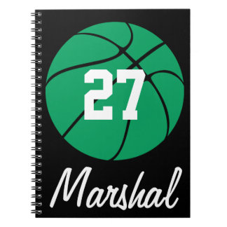 Green Basketball Player Name & Number Customizable Spiral Notebook