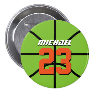 Green Basketball Sports Team Button Pin