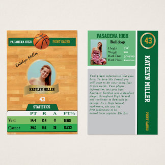 Green Basketball Trading Sports Card w/ Autograph