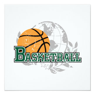 Green Basketball Tshirts and Gifts 13 Cm X 13 Cm Square Invitation Card