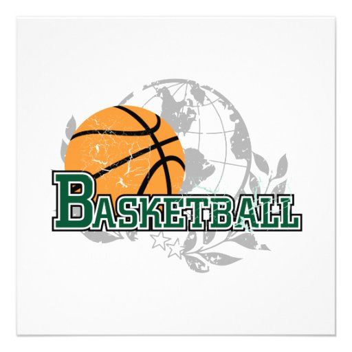 Green Basketball Tshirts and Gifts Personalized Invite