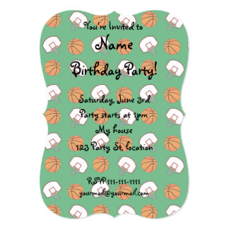 "Green basketballs and nets pattern 5"" x 7"" invitation card"