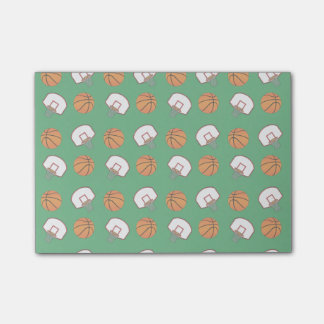 Green basketballs and nets pattern post-it® notes