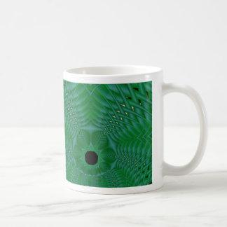green basketweave mug