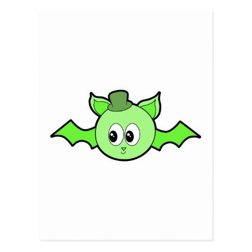 Green Bat Wearing a Hat. Postcards