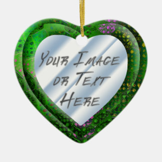 Green Batik Heart Frame Ceramic Heart Decoration