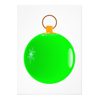 Green Bauble Christmas Invitations