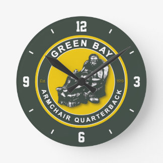 Green Bay Armchair Quarterback Football Wall Clock