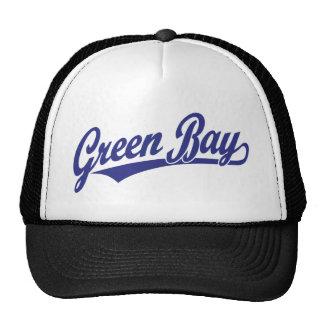 Green Bay script logo in blue Trucker Hats