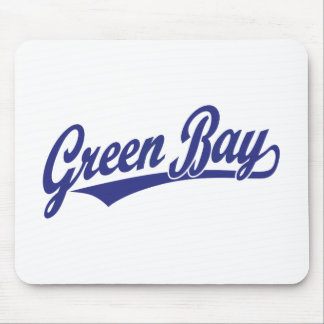 Green Bay script logo in blue Mouse Pads