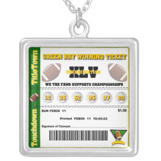 Green Bay Winning Ticket Square Pendant Necklace