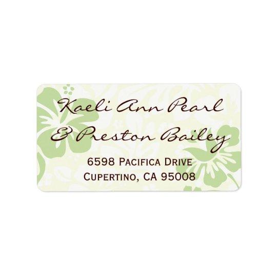 Green Beach Flowers Address Label