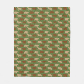 Green Bear Pattern Fleece Blanket