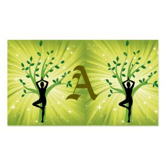 Green beautiful healer yoga yogi chakra energy chi business card templates