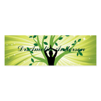 Green beautiful healer yoga yogi chakra energy chi Double-Sided mini business cards (Pack of 20)
