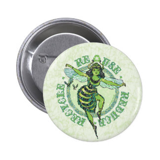 Green Bee Earthday by Mudge Studios 6 Cm Round Badge